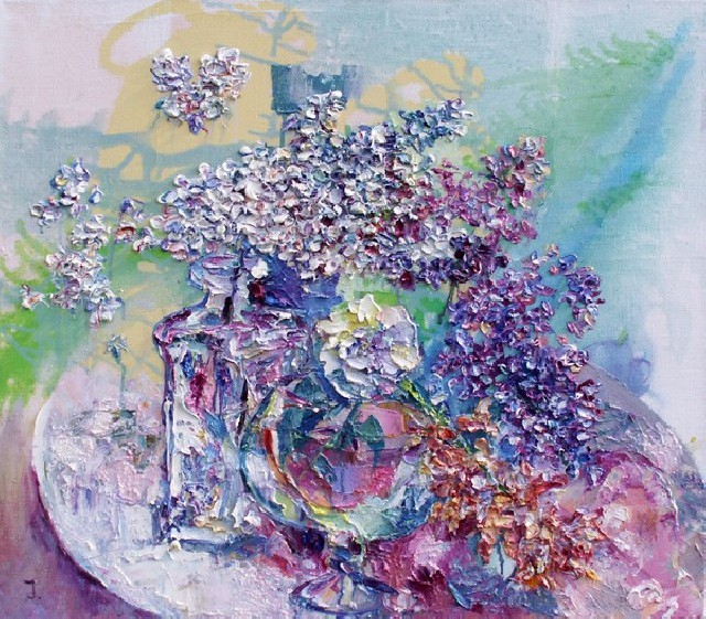 White Lilacs original painting by Jelena Bliznina. Oil painting