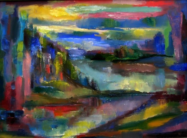 The Country Of Lakes - Žemaitija original painting by Leonardas Černiauskas. Oil painting