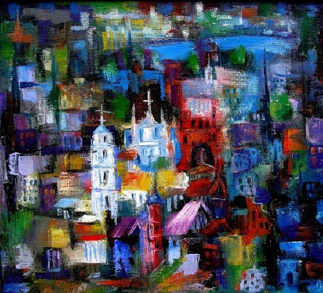 Town original painting by Leonardas Černiauskas. Oil painting