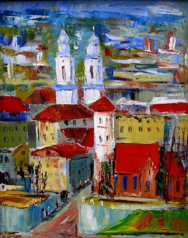 Kaunas original painting by Leonardas Černiauskas. Oil painting