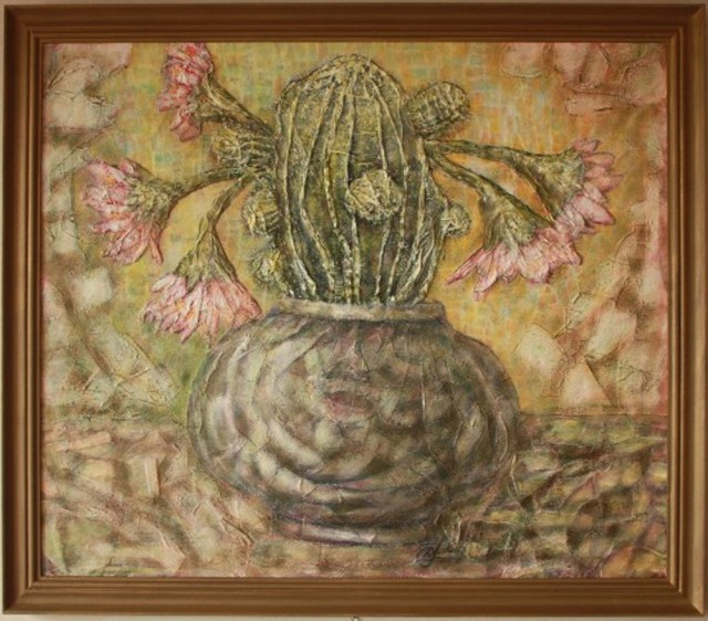 Flowering Cactus original painting by Danguolė Jokubaitienė. Oil painting