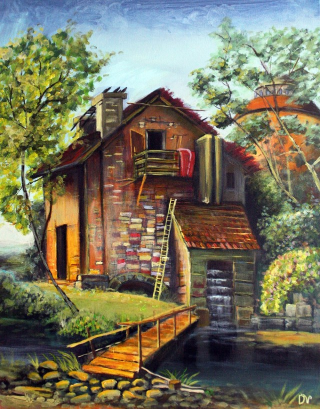 Watermill original painting by Dalius Virbickas. Acrylic painting