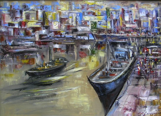 Harbour original painting by Leonardas Černiauskas. Oil painting
