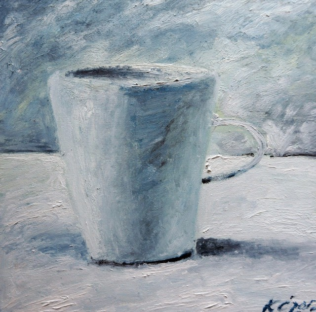 Cup original painting by Kristina Česonytė. Oil painting