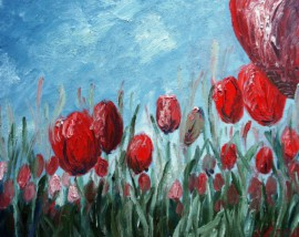 Red Tulips original painting by Kristina Česonytė. Oil painting