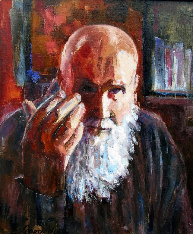 Father Stanislovas original painting by Leonardas Černiauskas. Oil painting
