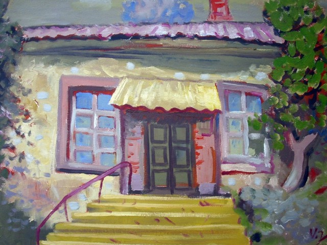 Yellow Steps original painting by Vidmantas Jažauskas. Oil painting