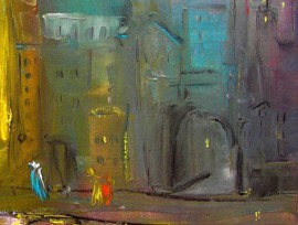 Town At Night original painting by Leonardas Černiauskas. Oil painting