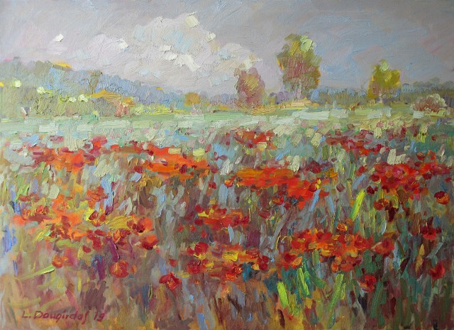 Flowering poppy meadow