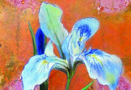 Iris original painting by Lina Zavadskė. Watercolor painting