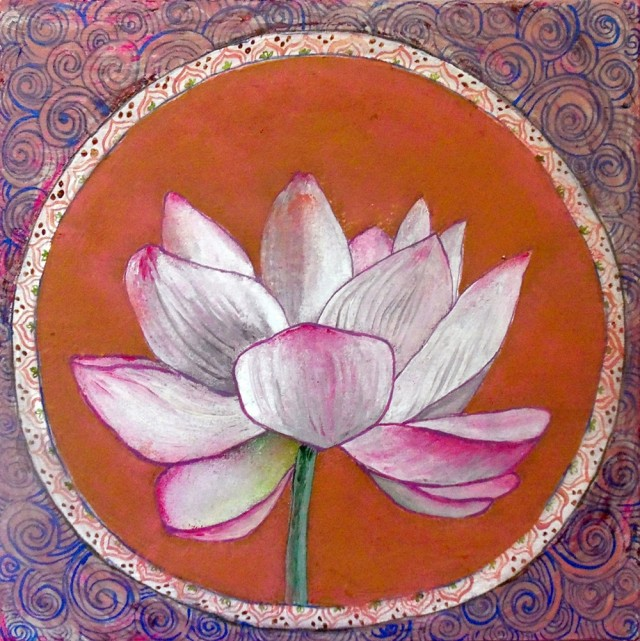 Lotus original painting by Lina Zavadskė. Acrylic painting