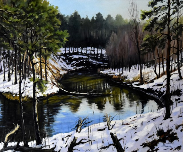 Winter Forest And River