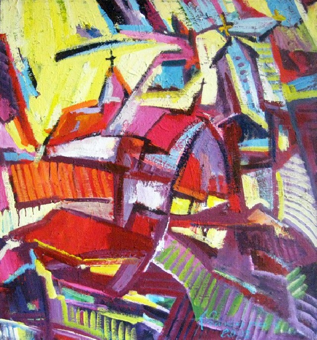 Architecture original painting by Justinas Prakapas. Acrylic painting