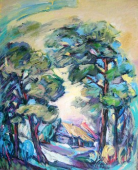 Pines of Marcinkonys original painting by Justinas Prakapas. Acrylic painting
