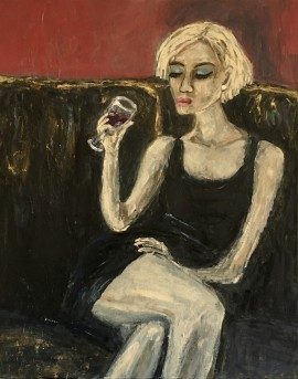 Girl with red glass wine