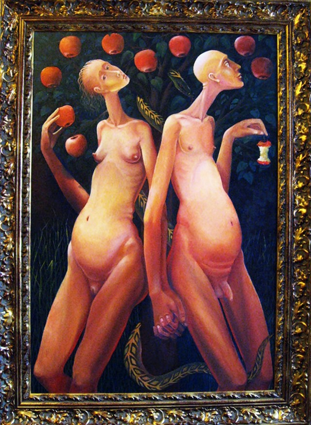 Adam and Eve original painting by Arnoldas Švenčionis. Paintings With People