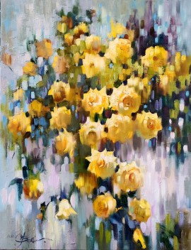 Yellow Roses, White Wall