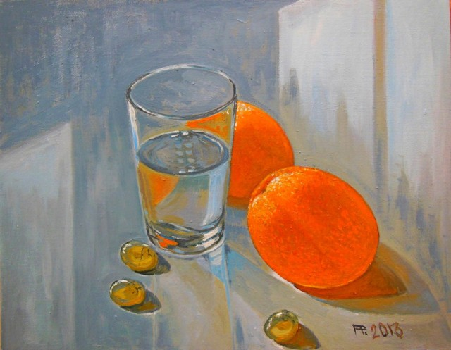 Two Oranges original painting by Aloyzas Pacevičius. Oil painting