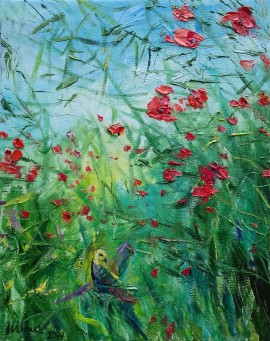 Poppies With Parrots