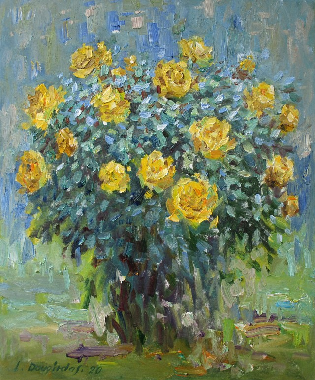 Yellow Roses Blooming