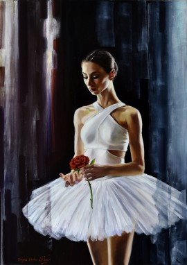 Ballerina With Red Rose