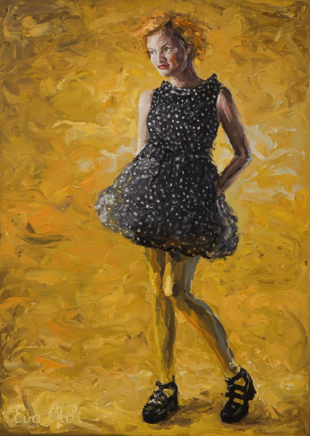 Yellow. Woman In A Dotted Dress