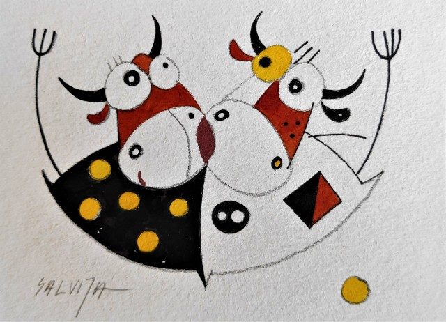 """Two of us... From the cycle """"Stories of Cows"""""""