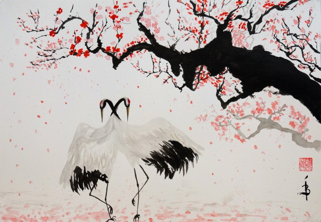 Red-crowned cranes under plum tree
