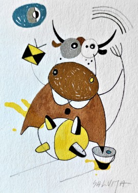 """With a flight ... From the cycle """"Stories of Cows"""""""