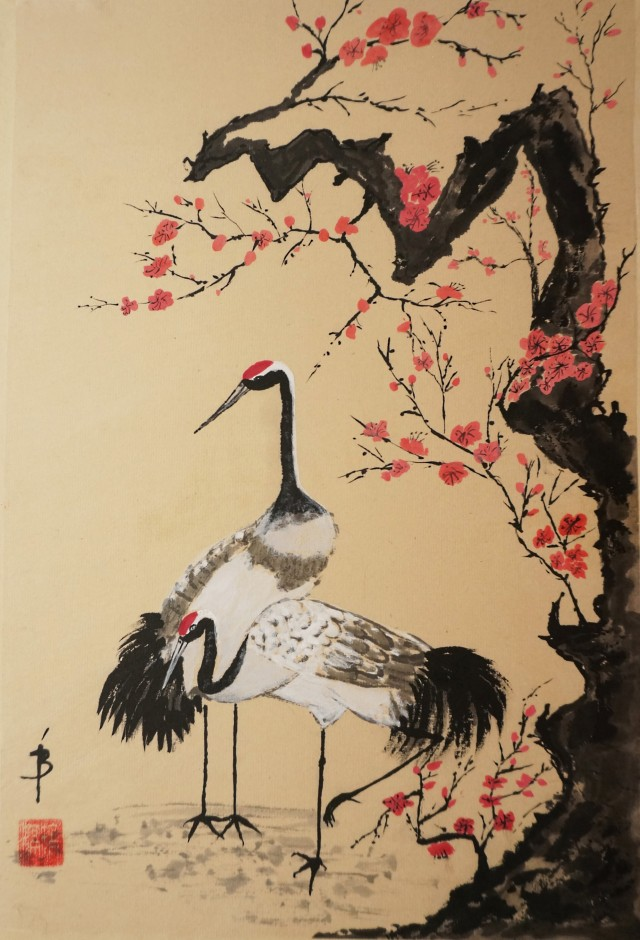 Cranes and the Plum Tree