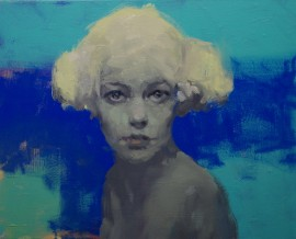 The girl on a blue background