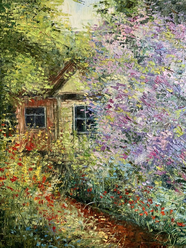 Homestead in olive blossoms