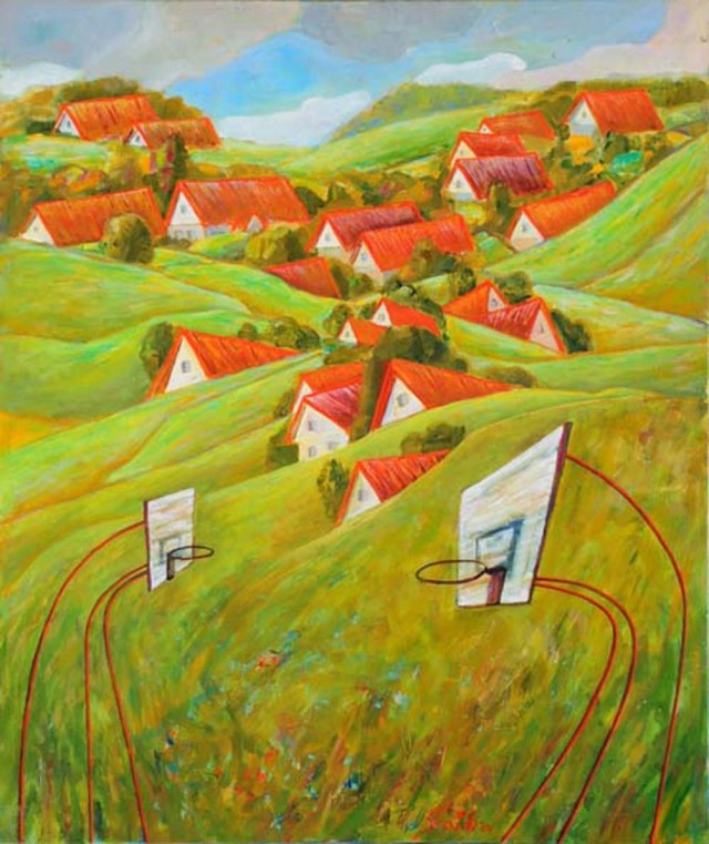 Playing With The Red Roofs original painting by Skaidra Savickas. Oil painting