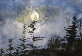 Night original painting by Ieva Nauckutė. Watercolor painting