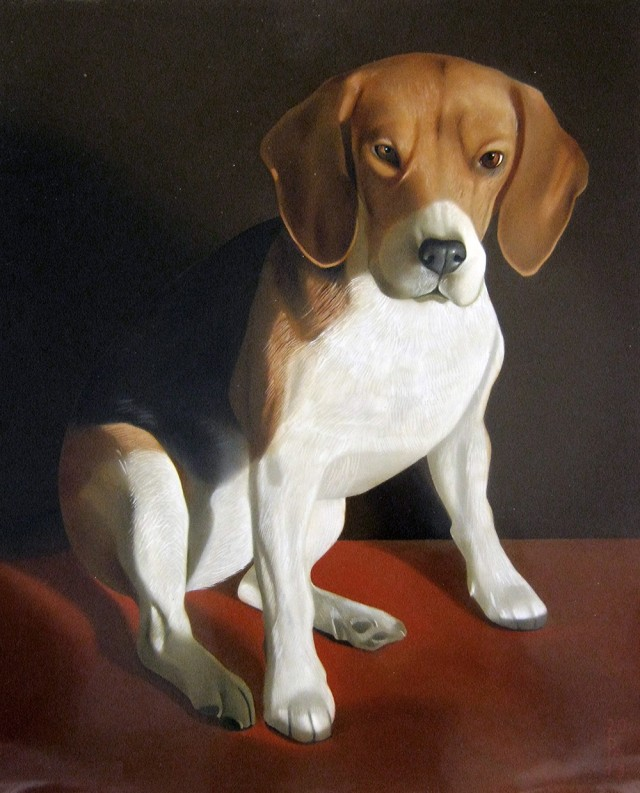 Beagle original painting by Andrej Česiulevič. Animalistic Paintings