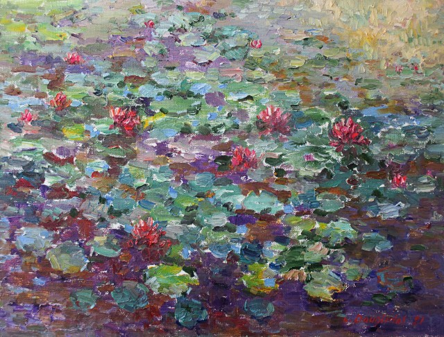 Water Lilies In A Deep Pond