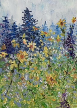 Lupines and Yellow Flowers