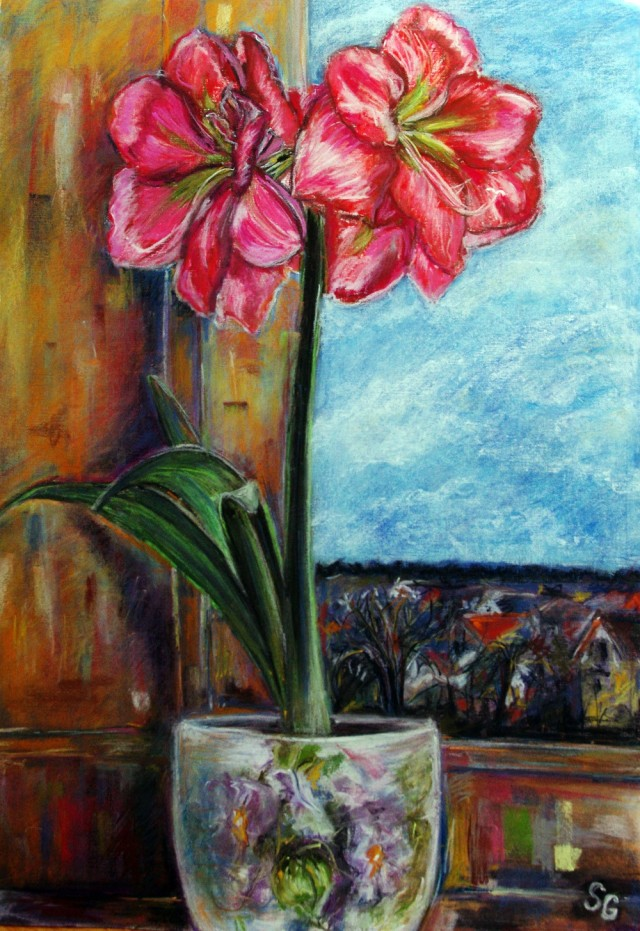 On The Windowsill original painting by Svetlana Grigonienė. Pastel
