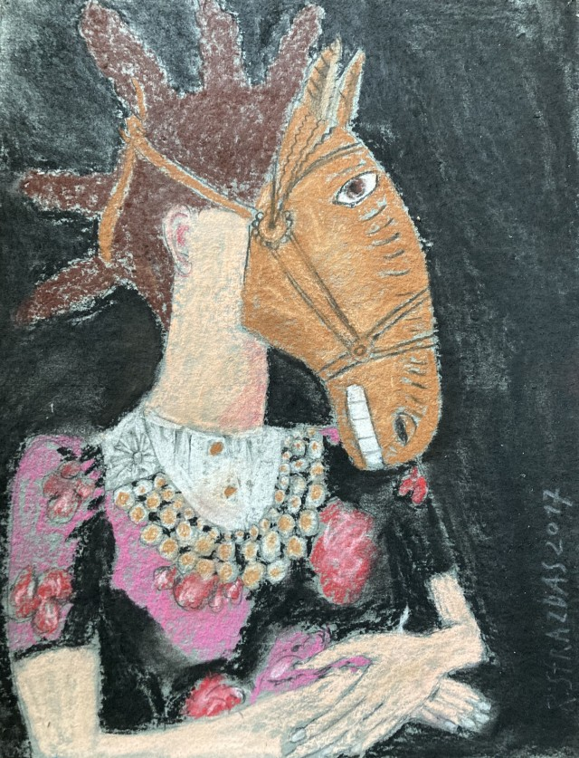 Girl Portrait with a Horse Mask