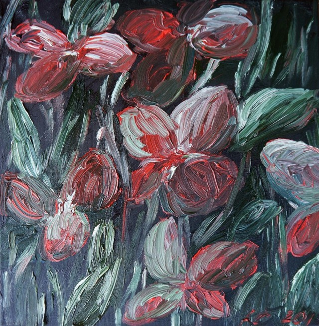 Red Flowers original painting by Kristina Česonytė. Oil painting