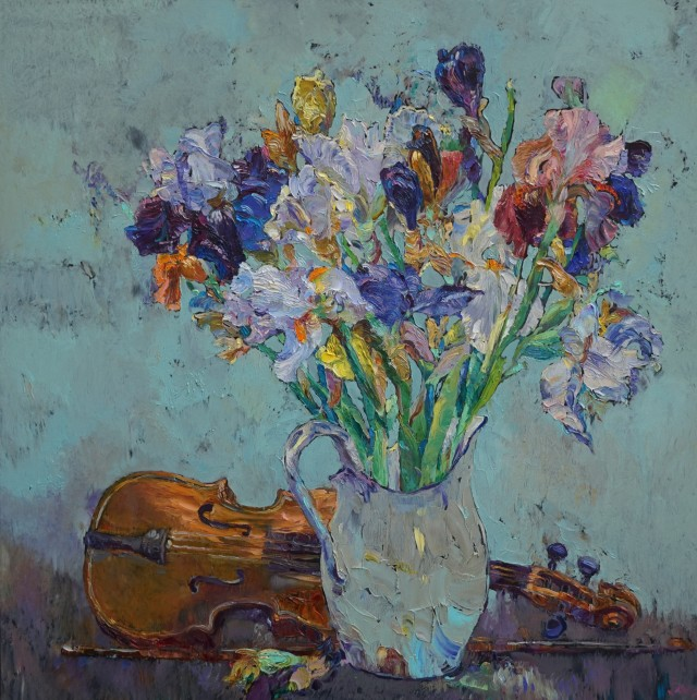 Still Life With Irises And Violin