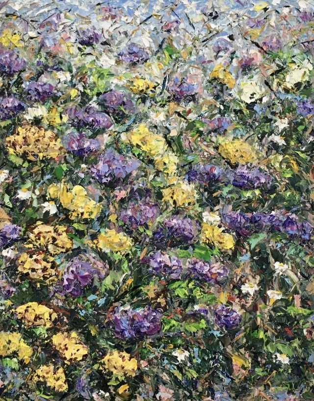 Yellow and Purple flowers carpet