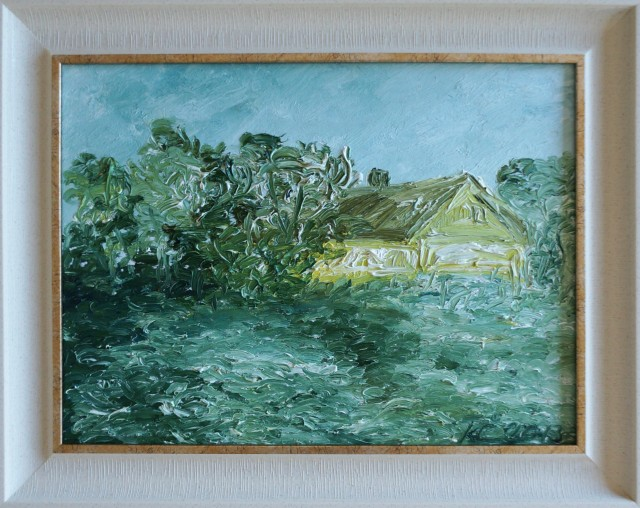 Summer in Village. Motive original painting by Kristina Česonytė. Oil painting