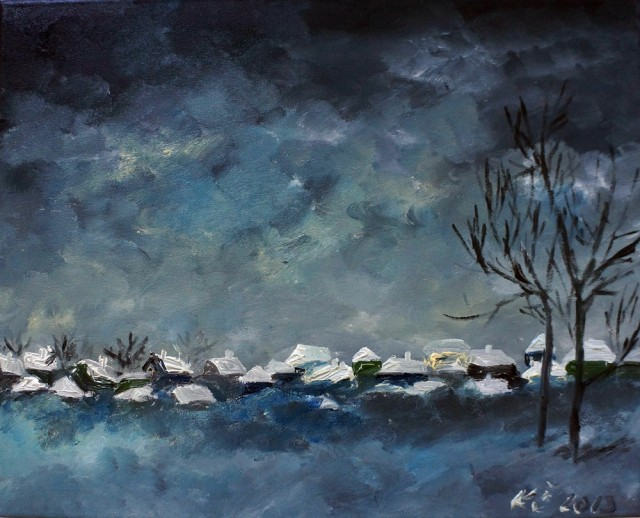 Village Covered With Snow. Lonely Trees original painting by Kristina Česonytė. Oil painting