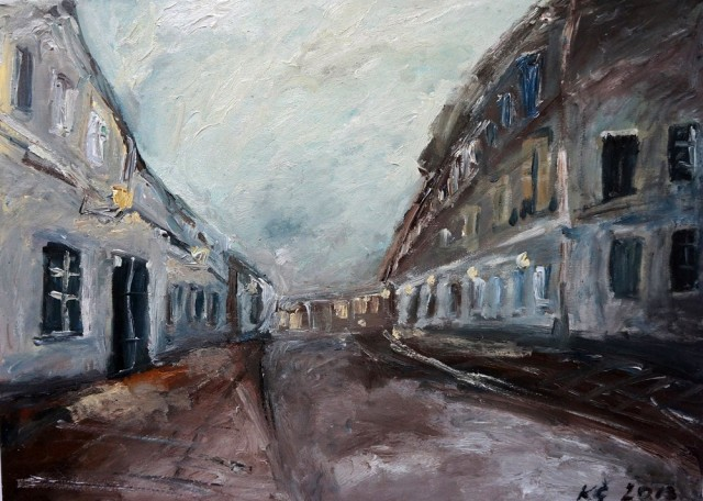 Vilnius Old Town in Evening original painting by Kristina Česonytė. Oil painting