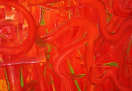 Tomato Fight original painting by Aušrinė Gudienė. Acrylic painting