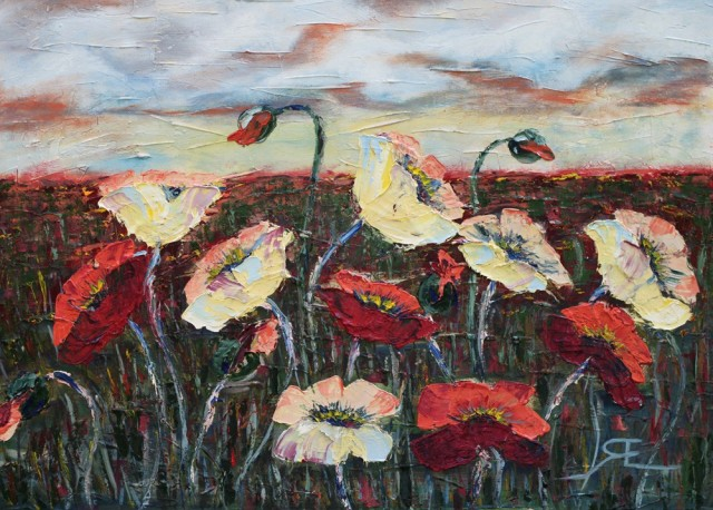 Poppies original painting by Erika Ruginienė. Oil painting