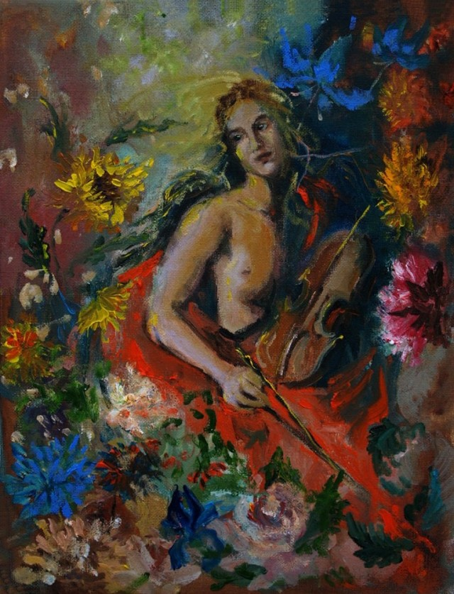 Music For Flowers original painting by Rasa Staskonytė. Oil painting