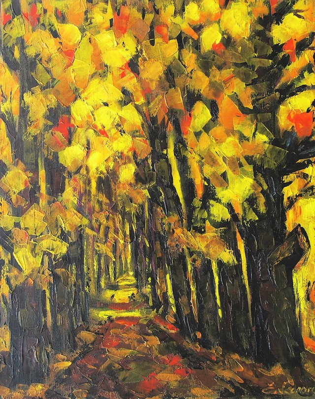 Autumn In The Park original painting by Leonardas Černiauskas. Oil painting