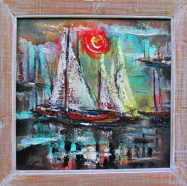 The Sails original painting by Leonardas Černiauskas. Oil painting